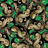 Nahtloses Muster aufwändiges Gold- und schwarze Weinlese Paisleys Dekorativer Blumenhintergrund des grünen Vektors Wiederholen Si vektor abbildung