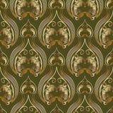 Nahtloses Muster Barogue-Weinlese 3d Vektor grünes mit Blumenbackgro stock abbildung