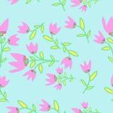 Nahtloses Muster Bell, Niederlassungen, Blätter, Stellen Hand gezeichnet Lizenzfreie Stockfotos
