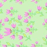 Nahtloses Muster Bell, Niederlassungen, Blätter, Stellen Hand gezeichnet Lizenzfreies Stockfoto