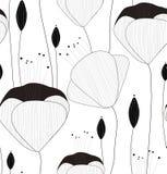Nahtloses Muster, Beschaffenheit, Druck mit Handgezogenen Blumen und Knospen des Vektors auf dem weißen Hintergrund stock abbildung