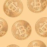 Nahtloses Muster Bitcoin Stockbild