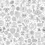 Nahtloses Muster Bitcoin Vektor-Illustration des Entwurfs-Fliesen-Hintergrundes Finanzeinzelteile Cryptocurrency lizenzfreie abbildung