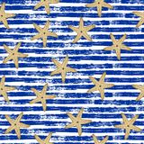 Nahtloses Muster Blaue Linien, Starfish Stockfotografie