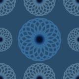 Nahtloses Muster Blaues Blumenmuster und Hintergrund Rundes Blumenverzierungsdesign Lizenzfreie Stockfotos