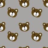 Nahtloses Muster bunten Gesichtes Teddybär der netten Karikatur Lizenzfreies Stockfoto