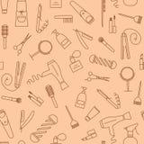 Nahtloses Muster Care&Beauty Barber Shop Icons Lizenzfreies Stockfoto