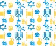 Nahtloses Muster Chanukka-Symbols Hanukkah-Hintergrund mit Menorah