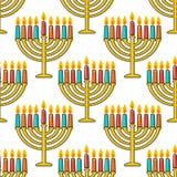 Nahtloses Muster Chanukkas Chanukka-simbols Chanukka-Kerzen, -menorah, -sufganiot und -dreidel