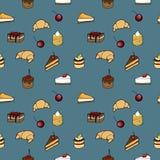Nahtloses Muster - coffe, Kuchen und Hörnchen Lizenzfreie Stockbilder