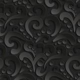Nahtloses Muster 3d mit abstraktem Flourishdesign Schwarzer eleganter abstrakter Hintergrund Stockfotos