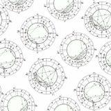 Nahtloses Muster, das Geburts- astrologisches Diagramm, Sternzeichen färbt stock abbildung