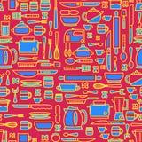 Nahtloses Muster, das verschiedene Küchengeräte kennzeichnet und in Verbindung stehende Gegenstände kocht Lizenzfreies Stockbild