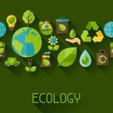 Nahtloses Muster der Ökologie mit Umweltikonen Lizenzfreies Stockbild