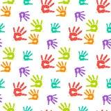 Nahtloses Muster der abstrakten Farbhandabdrücke Stockfoto