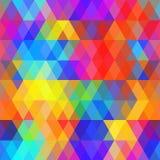 Nahtloses Muster der abstrakten Hippies mit heller farbiger Raute Geometrische Hintergrundregenbogenfarbe Vektor Stockfotos