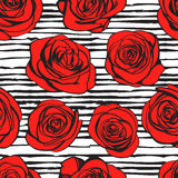 Nahtloses Muster der abstrakten Rosen Vektor Stock Abbildung