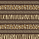 Nahtloses Muster der afrikanischen Art mit wilden Tieren s Stockfotos