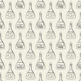 Nahtloses Muster der Alchimie mit Flaschen stock abbildung
