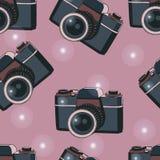 Nahtloses Muster der alten Kamera Stockbild