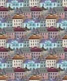 Nahtloses Muster der alten Stadtdachspitzen Stockbild