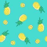 Nahtloses Muster der Ananas und der Scheiben Flache Illustration des Vektors Stockbild