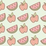 Nahtloses Muster der Apfel- und Wassermelonenkarikatur Lizenzfreies Stockbild