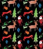 Nahtloses Muster der Aquarell-Weihnachtsillustrationen mit Weihnachtsmann, Rotwild, Bäumen und Beeren Thema des neuen Jahres des  vektor abbildung