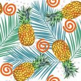 Nahtloses Muster der Aquarellananas-Illustration mit Palmblatt und Punkten Tropischer Hintergrund Lizenzfreie Stockfotos