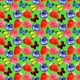 Nahtloses Muster der Aquarellbeeren- und -schmetterlingsillustration lokalisiert auf grünem Hintergrund Lizenzfreie Stockbilder