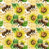 Nahtloses Muster der Aquarellbienen, -blumen und -bienenwaben lizenzfreie abbildung