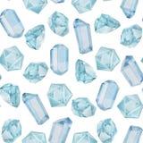 Nahtloses Muster der Aquarelledelsteine Stockbilder