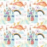 Nahtloses Muster der Aquarellmärchen mit nettem Drachen, magischem Schloss, Bergen und Fee bewölkt sich Stockbild