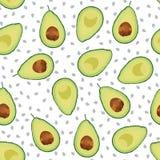 Nahtloses Muster der Avocado geschnitten auf weißem Hintergrund, vektor abbildung