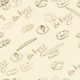 Nahtloses Muster der Bäckerei Stockfoto