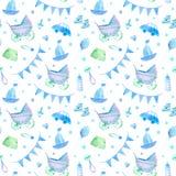 Nahtloses Muster der Babysachen Neugeborene Jungenattribute Stockbilder