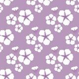 Nahtloses Muster der Baumwollblume Flache Art auf nettem lila Hintergrund Auch im corel abgehobenen Betrag vektor abbildung