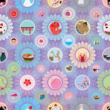 Nahtloses Muster der Besuchsjapan-Kreisbild-Blume Lizenzfreie Stockfotos