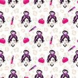 Nahtloses Muster der bezaubernden Mädchenskizzen-Schönheit Stockbilder