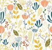 Nahtloses Muster der Blätter und der Blumen Stockbilder