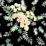Nahtloses Muster der blühenden Frühlingsniederlassung mit den orange, gelben Blumen und Grün verlässt auf einem schwarzen Hinterg Stockbild