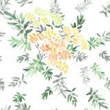 Nahtloses Muster der blühenden Frühlingsniederlassung mit den orange, gelben, roten Blumen und Grau und Grün verlässt auf einem w Stockbilder