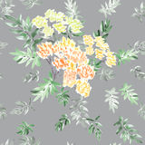 Nahtloses Muster der blühenden Frühlingsniederlassung mit gelben Blumen und Grün verlässt auf einem grauen Hintergrund watercolor Lizenzfreie Stockfotos