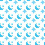 Nahtloses Muster der blauen Monde und der Sterne lizenzfreie abbildung