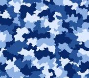 Nahtloses Muster der blauen Tarnung Stockbild