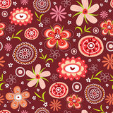 Nahtloses Muster der Blume des Rotes Lizenzfreie Stockfotografie