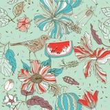 Nahtloses Muster der Blume mit Vogel und Wassermelone Lizenzfreies Stockfoto