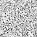 Nahtloses Muster der Blumen und der Bienen Stockbilder