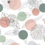 Nahtloses Muster der Blumen und der Blätter Stockbild