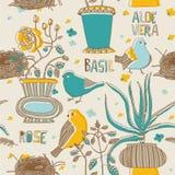 Nahtloses Muster der Blumen und der Vögel Stockfoto